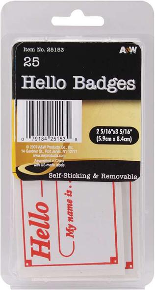 """Labels Hello Badges 2.3125""""X3.3125"""" 25/Pkg"""