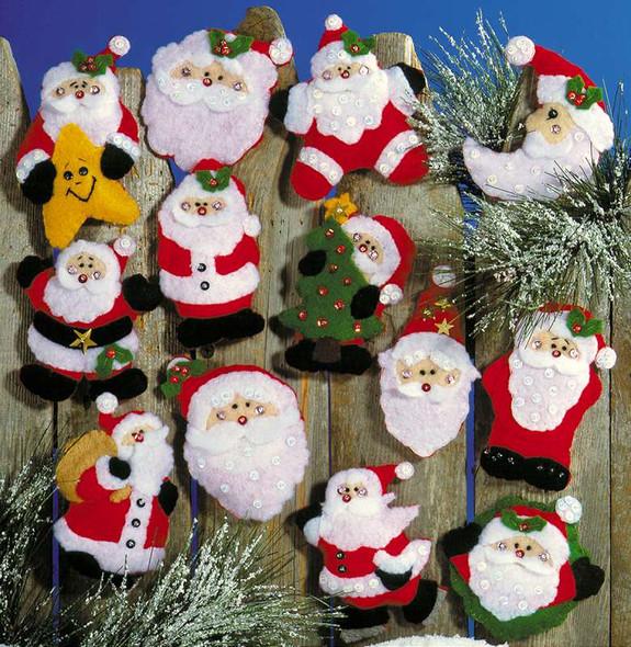 """Lots Of Santas Ornaments Felt Applique Kit 3""""X4"""" Set Of 13"""
