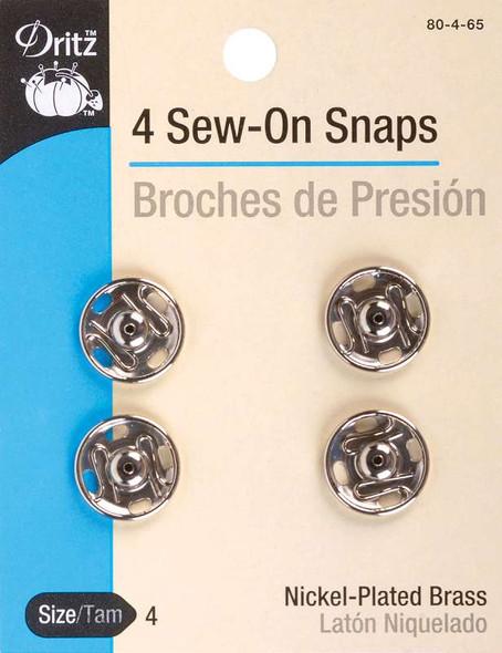 Nickel Sew-On Snaps Size 4 4/Pkg