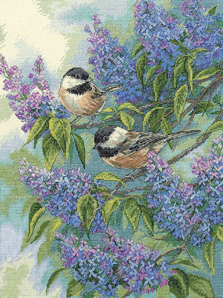 """Gold Collection Chickadees & Lilacs Counted Cross Stitch Kit 12""""X16"""" 14 Count"""