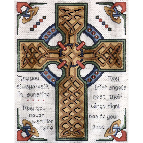 """Celtic Cross Counted Cross Stitch Kit 8""""X10"""" 14 Count"""