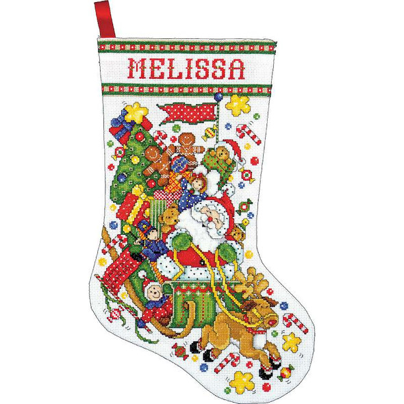 """Santa & Sleigh Stocking Counted Cross Stitch Kit 17"""" Long 14 Count"""