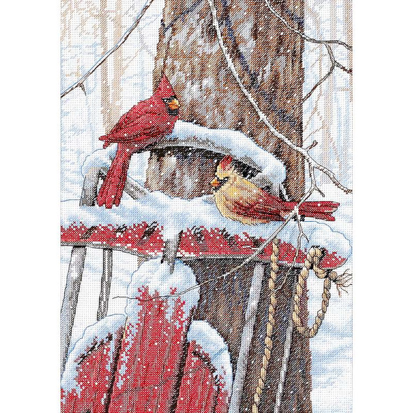 """Cardinals On Sled Counted Cross Stitch Kit 10""""X14"""" 14 Count"""