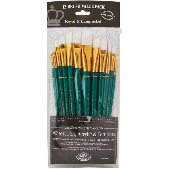 White Taklon Value Pack Brush Set 12/Pkg