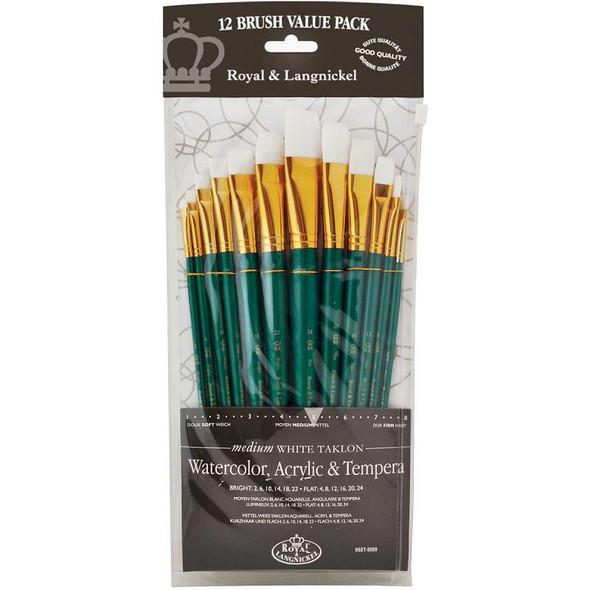 White Taklon Flat Value Pack Brush Set 12/Pkg