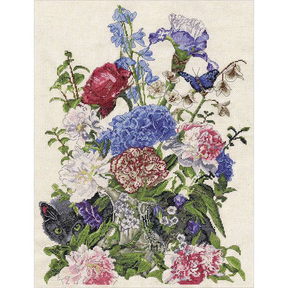 """Bouquet With Cat Counted Cross Stitch Kit 14""""X19"""" 14 Count"""