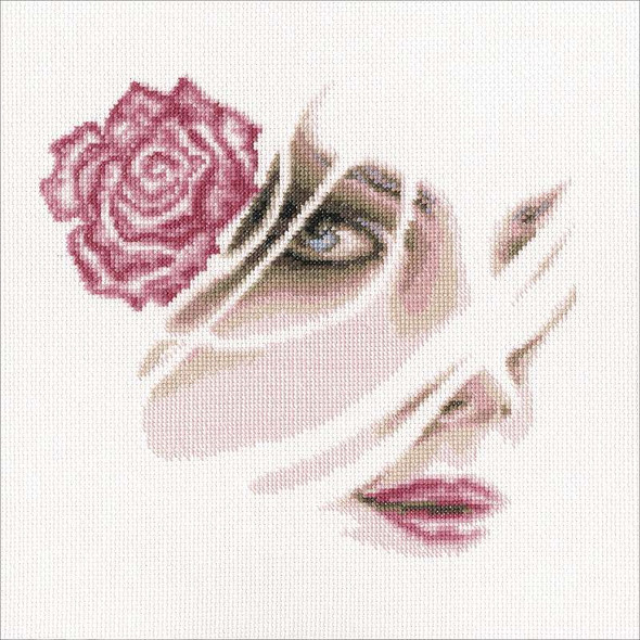 """Coral Rose Counted Cross Stitch Kit 8.75""""X8"""" 14 Count"""