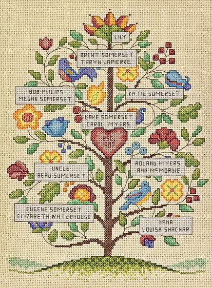 """Vintage Family Tree Counted Cross Stitch Kit 9""""X12"""" 14 Count"""