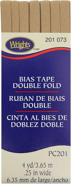 "Wrights Double Fold Bias Tape 1/4""X4yd Tan"