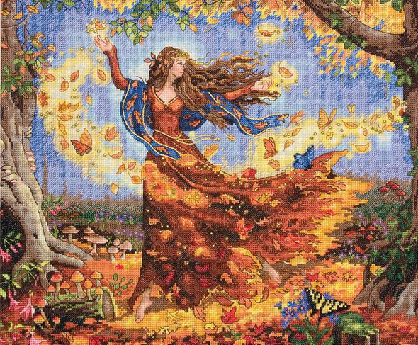 """Gold Collection Fall Fairy Counted Cross Stitch Kit 14""""X12"""" 14 Count"""
