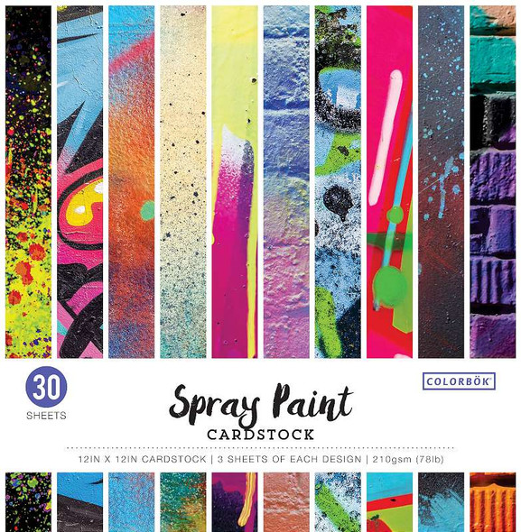 """Colorbok 78lb Single-Sided Printed Cardstock 12""""X12"""" 30/Pkg Spray Paint, 10 Designs/3 Each"""