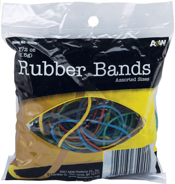 Rubber Bands 1.5oz Assorted Colors & Sizes