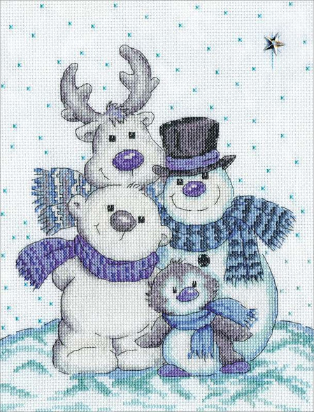 """Design World Counted Cross Stitch Kit 8""""X10"""" Snow Pals (14 Count)"""