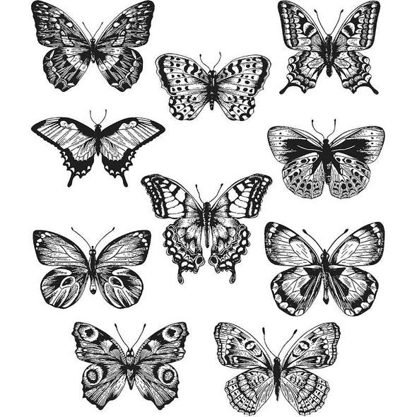 """Tim Holtz Cling Stamps 7""""X8.5"""" Flutter"""