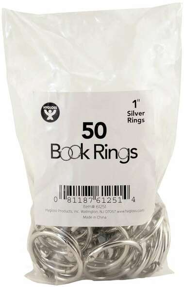 "Book Rings 50/Pkg Silver 1"""