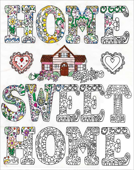 """Zenbroidery Stamped Embroidery 12""""X12"""" Home Sweet Home"""