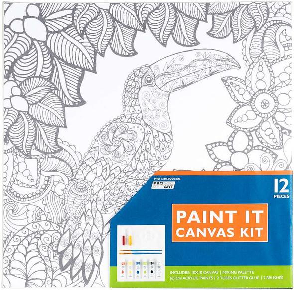"""Pro Art Paint-It Canvas Kit 10""""X10"""" Toucan"""