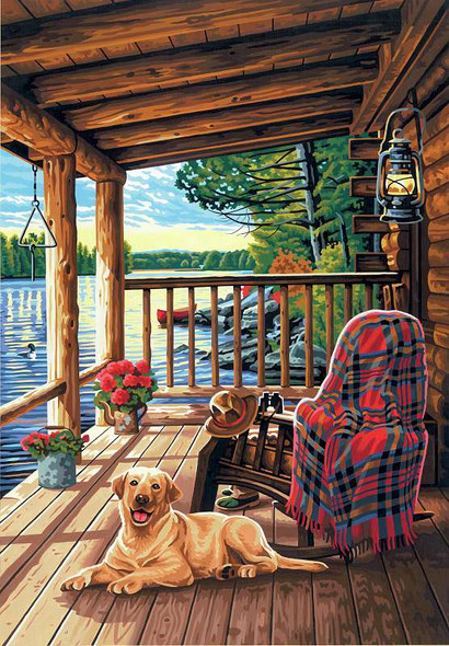 """Paint Works Paint By Number Kit 14""""X20"""" Log Cabin Porch"""