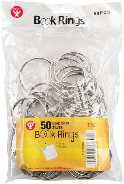 "Book Rings 50/Pkg Silver 1.5"""