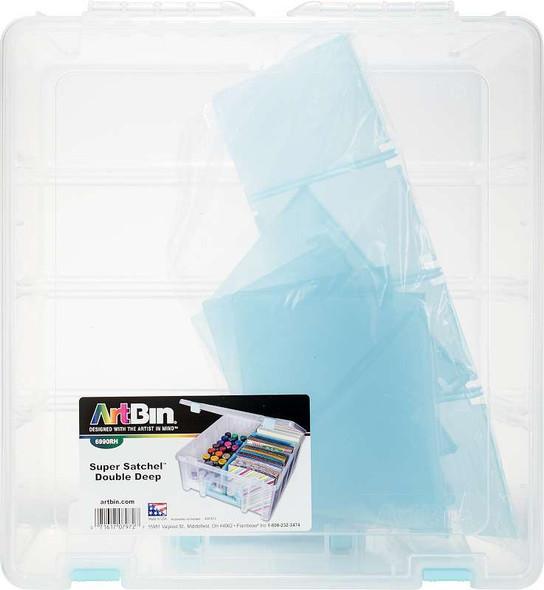 ArtBin Super Satchel Double Deep W/Removable Dividers Aqua Handle, Latch & Dividers