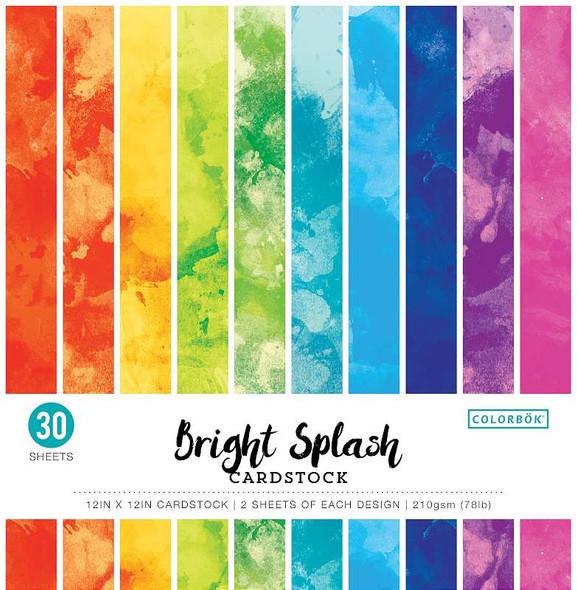 "Colorbok 78lb Single-Sided Printed Cardstock 12""X12"" 30/Pkg Watercolor Bright Splash, 15 Des/2 Each"