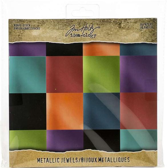 """Idea-Ology Paper Stash Kraft Metallic Paper Pad 8""""X8"""" 36/Pkg Jewels"""