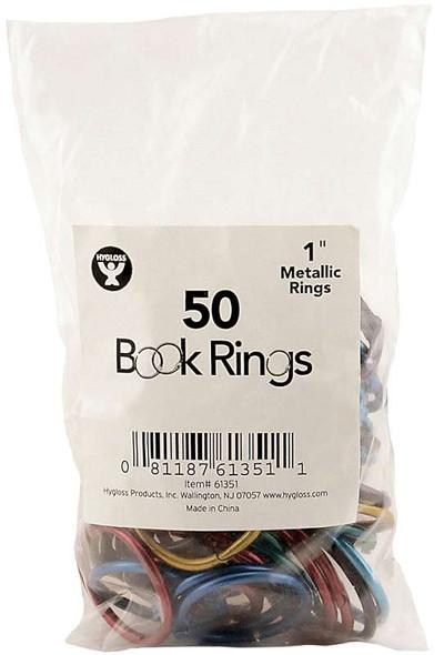 "Book Rings 50/Pkg Assorted Metallic 1"""