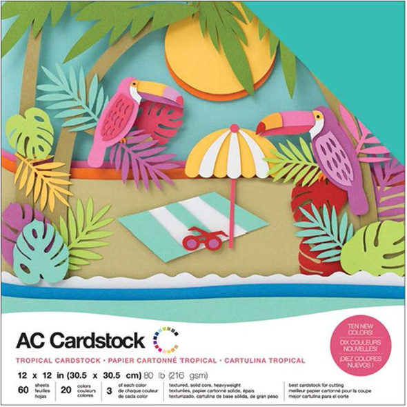 """American Crafts Variety Cardstock Pack 12""""X12"""" 60/Pkg Tropical"""