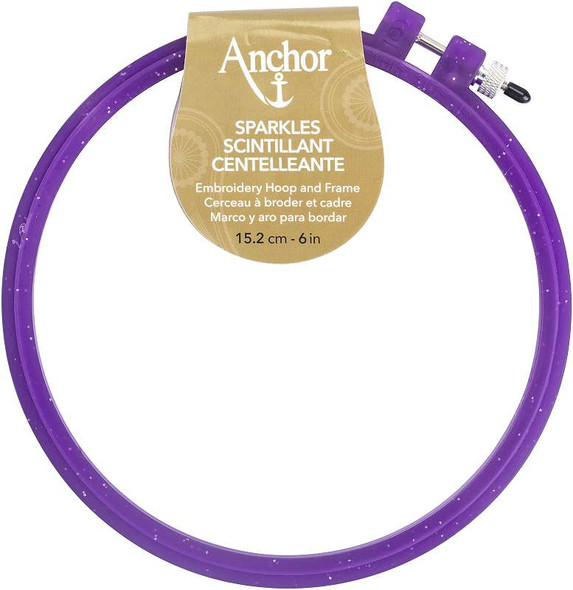 """Anchor Sparkle Plastic Embroidery Hoop Assorted Colors 6"""" Diameter Blue, Purple Or Yellow"""
