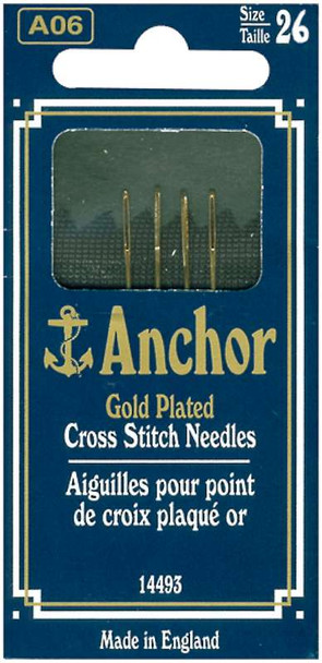 Anchor Gold-Plated Cross Stitch Needles Size 26 4/Pkg