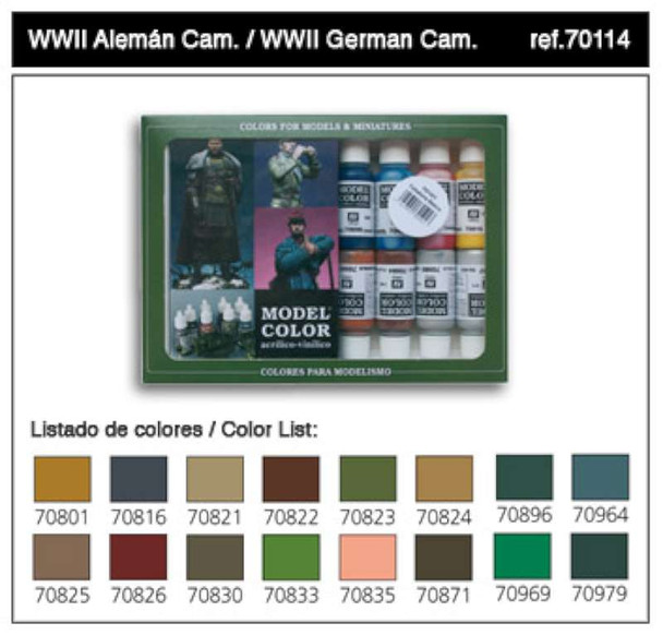 Vallejo Acrylic Paints WWII German Camouflage Model Color Paint Set