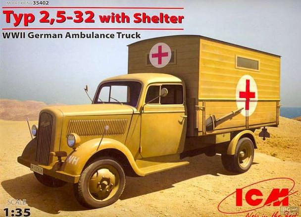 1/35 WWII German Type 2,5-32 Ambulance Truck w/Shelter