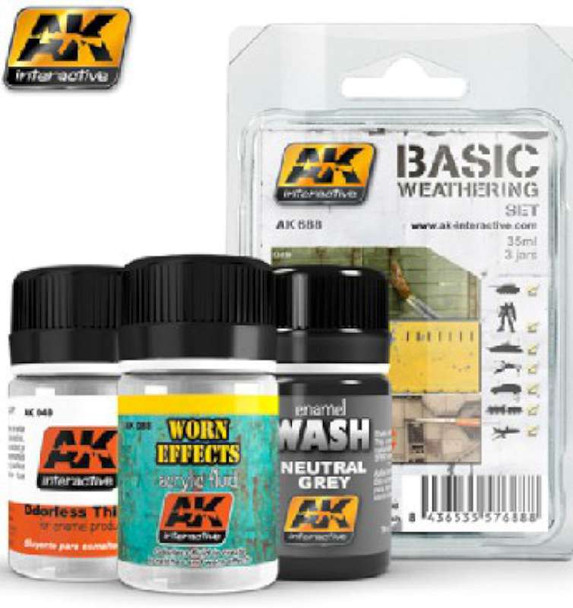 AK Interactive Basic Weathering Paint Set (49, 88, 677) -- Hobby and