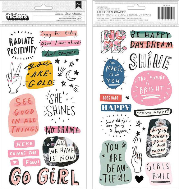 All Heart Thickers Stickers 54/Pkg Phrase & Icons/Puffy
