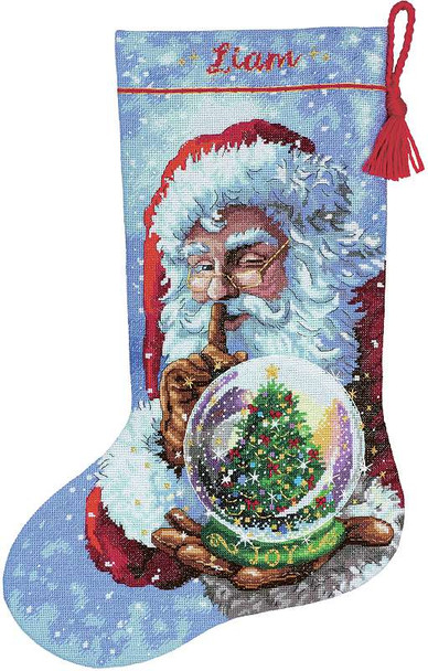 "Dimensions Stocking Cross Stitch Kit 16"" Long Santa's Snowglobe"