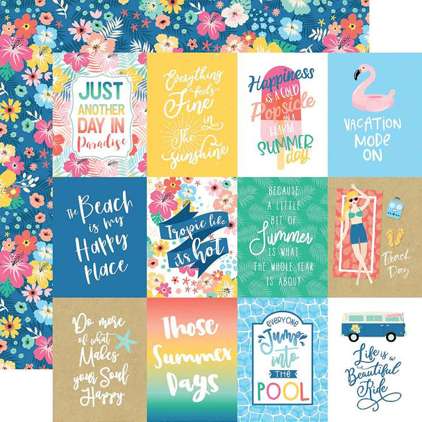 """Dive Into Summer Double-Sided Cardstock 12""""X12"""" 3""""X4"""" Journaling Cards"""