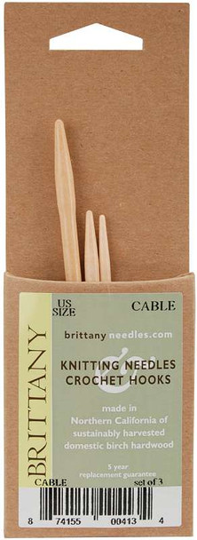 "Brittany Cable Knitting Needles 3.75"" 3/Pkg Sizes 2.5/3mm, 4/3.5mm & 7/4.5mm"