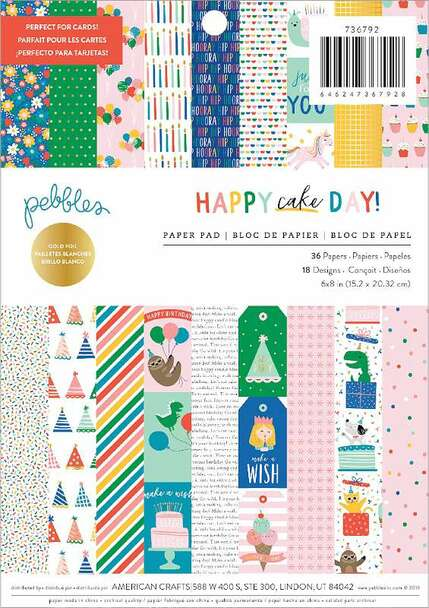 """Pebbles Single-Sided Paper Pad 6""""X8"""" 36/Pkg Happy Cake Day, 18 Designs/2 Each"""