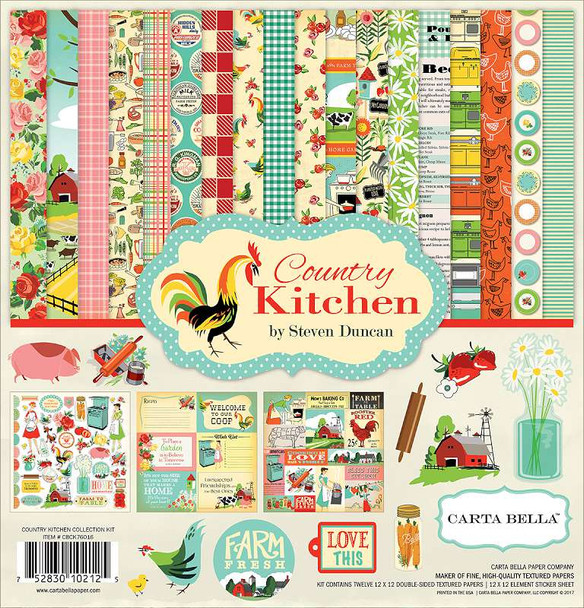 """Carta Bella Collection Kit 12""""X12"""" Country Kitchen"""