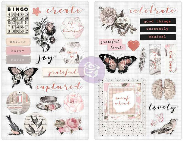 """Amelia Rose Chipboard Stickers 5""""X8"""" 2/Pkg Pink Roses W/Rose Gold Foil Accents"""