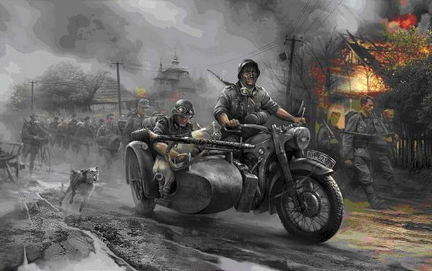 Zvezda 3607 German motorcicle R-12 with Sidecar and Crew