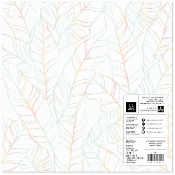 "Heidi Swapp Old School Specialty Paper 12""X12"" Vellum W/Iridescent Foil"