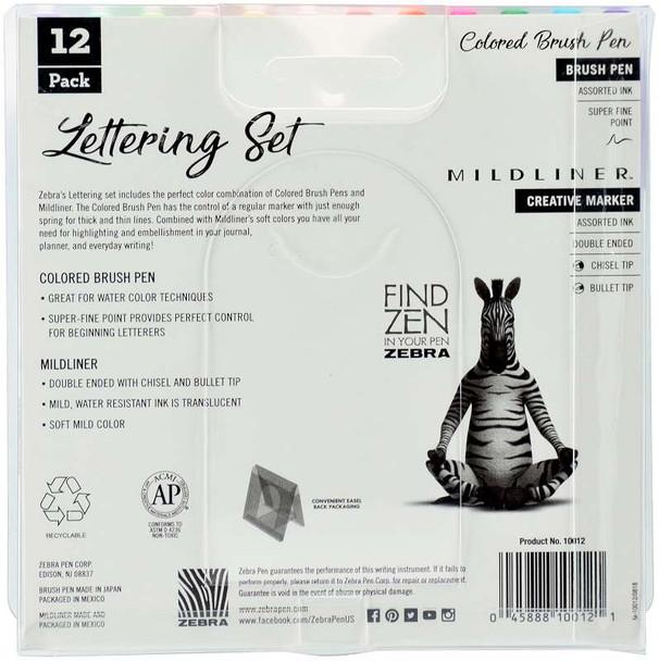 Zebra Mildliner Lettering Set 12/Pkg Assorted Colors & Styles