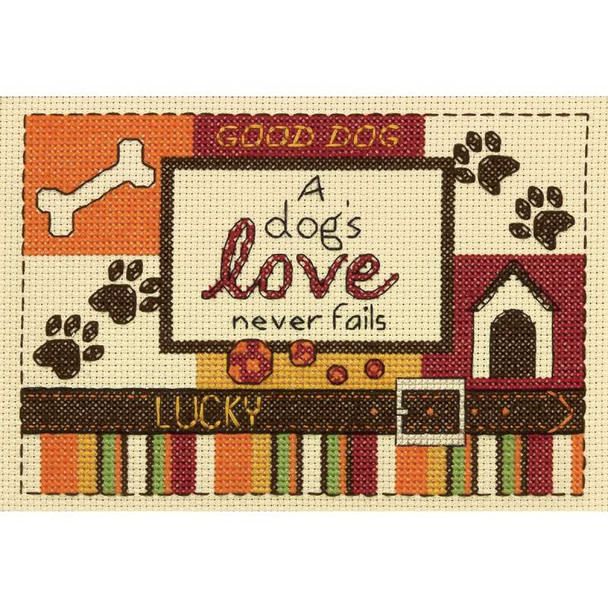 "A Dog's Love Mini Counted Cross Stitch Kit 5""X7"" 14 Count"