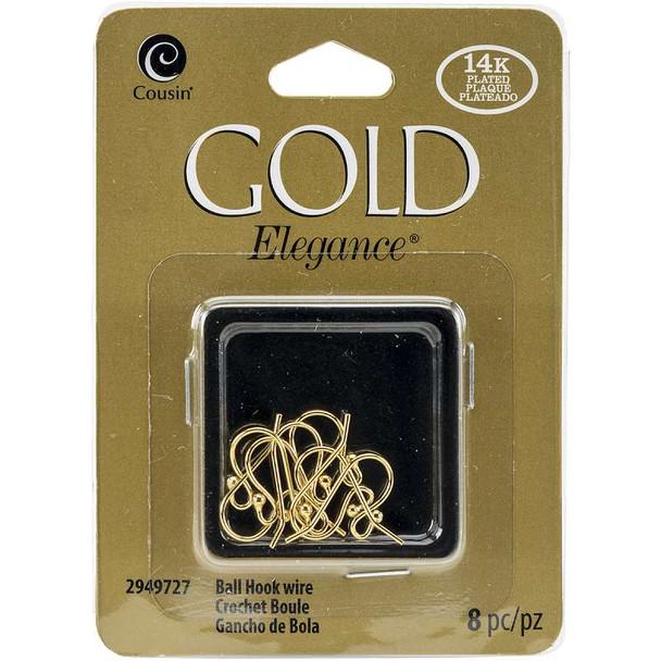 14k Plated Gold Elegance Beads & Findings Small Ball Hooked Earrings 8/Pkg