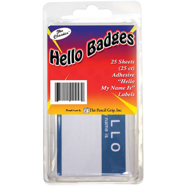 """Hello My name is..."" Badges 25/Pkg Blue/White"