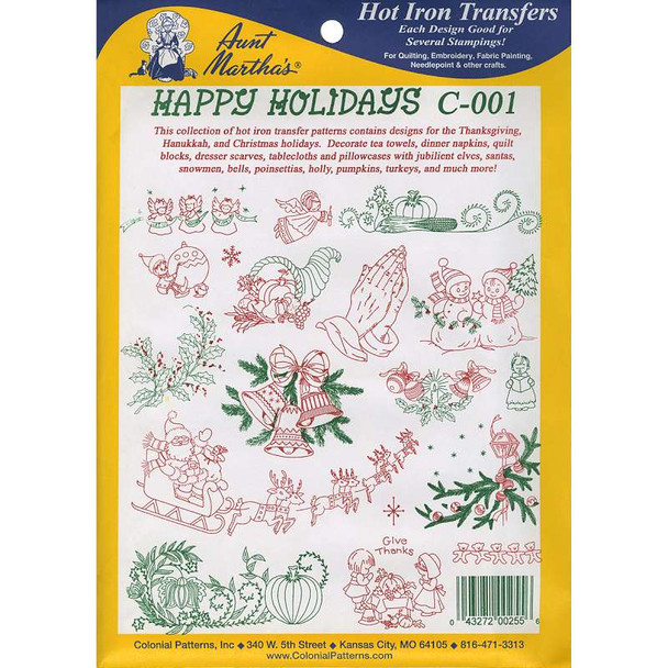 Aunt Martha'a Iron-On Transfer Collection Happy Holidays