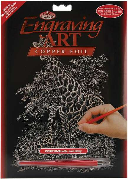"""Copper Foil Engraving Art Kit 8""""X10"""" Giraffe & Baby"""