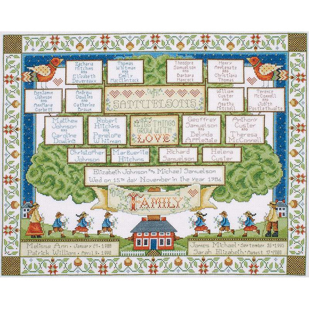 """Family Tree Counted Cross Stitch Kit 16""""X20"""" 14 Count"""