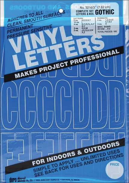 "Permanent Adhesive Vinyl Letters & Numbers 3"" 160/Pkg Blue"